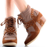 Dana - 10 Studded Spike Velcro Lace Up Wedge Sneaker