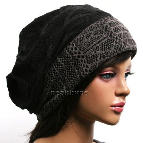 SLOUCHY BAGGY WINTER BEANIE FOR LADIES [BLACK]