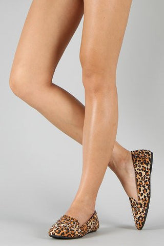 Lilly-49 Leopard Studded Spike Round Toe Loafer Flat