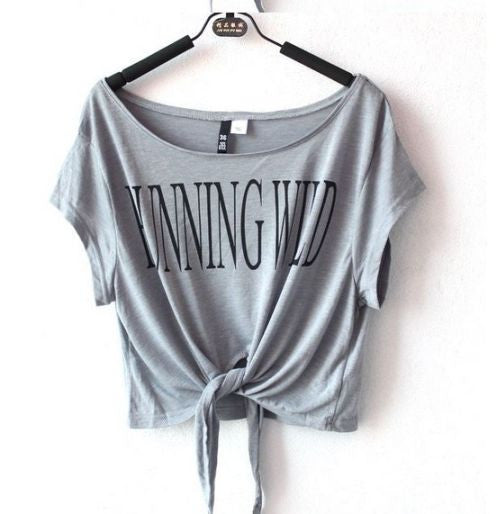"Short Sleeve ""Running Wild"" Crop Top [ Grey ]"