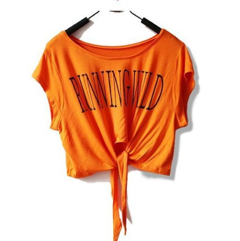 "Short Sleeve ""Running Wild"" Crop Top [ Orange ]"