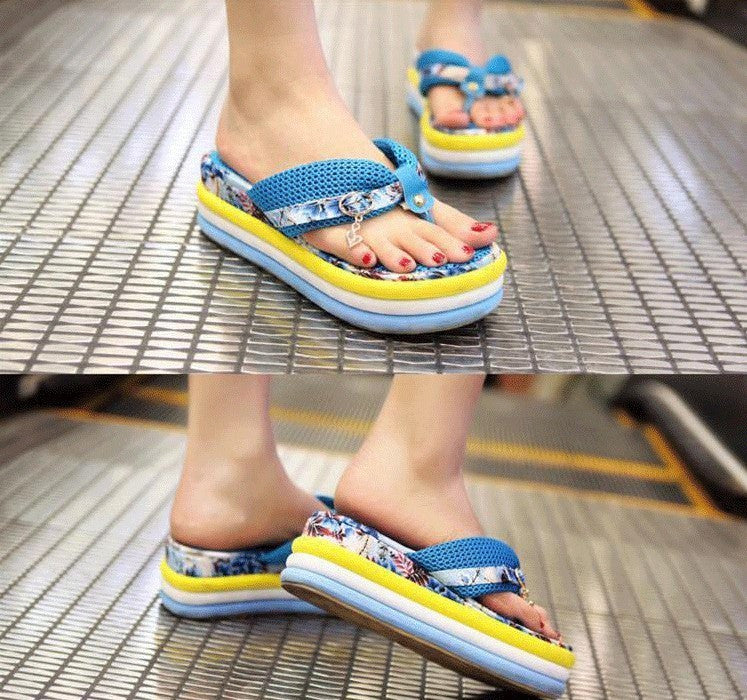 NEW WOMEN BLUE PLATFORM SANDALS/FLIP FLOPS