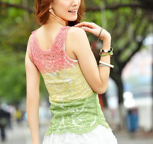 Sleeveless Leaf Sheer Crochet Lace Vest [ Multi-Colored ]