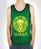 TANK TOP 'LION FACE' GREEN-BLACK