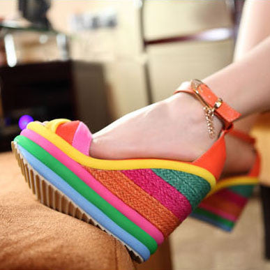 Rainbow Color Wedge Sandals