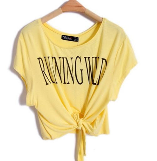 "Short Sleeve ""Running Wild"" Crop Top [ Yellow ]"