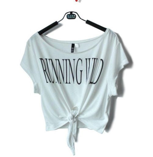 "Short Sleeve ""Running Wild"" Crop Top [ White ]"