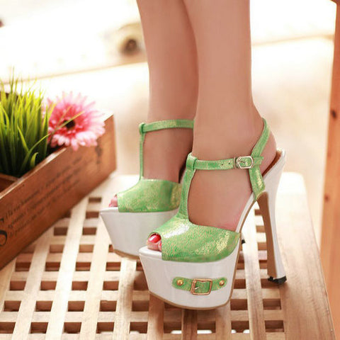 High-Heel T-Strap Platform Shoes, Green/Glitter