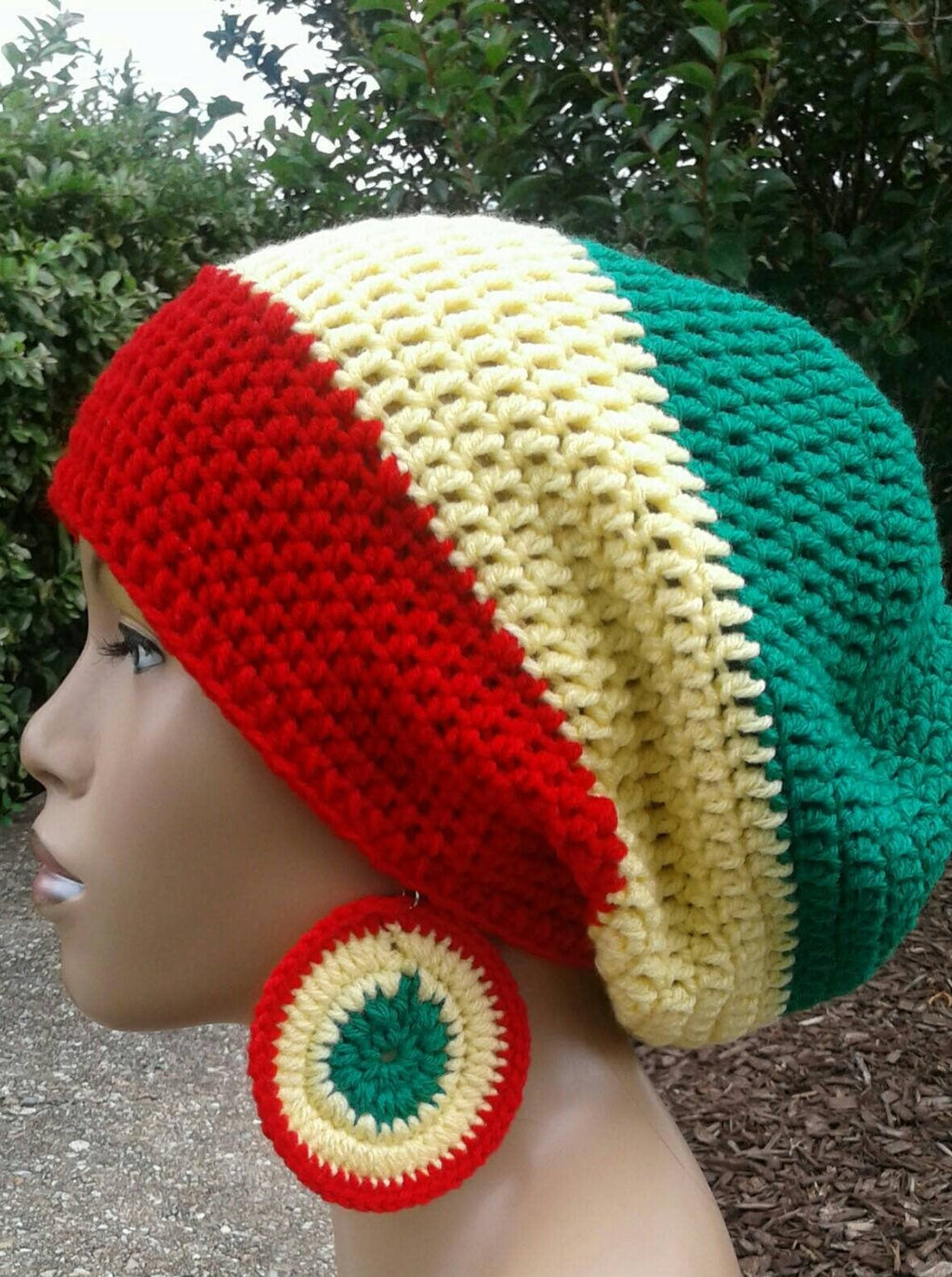 Red Yellow and Emerald Green Slouch Hat/ Dread lock hat with drawstring and free matching crochet earrings Rasta Colors