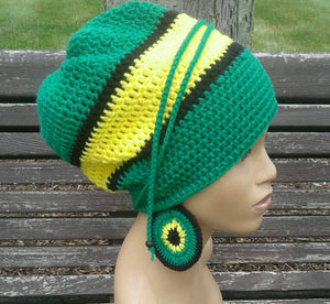 Green Yellow and Black Slouch Hat/ dread lock with drawstring /free matching crochet earrings Jamaican Flag Colors