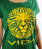 WOMEN'S TEE 'LIONFACE' GREEN