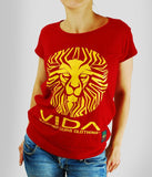 VIDA, WOMEN'S T-SHIRT ' LION FACE RED'