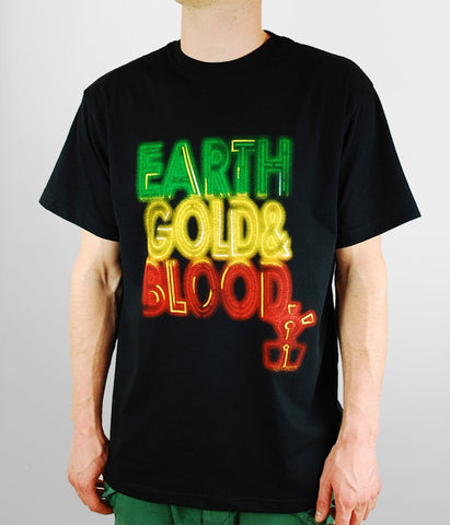 VIDA, MEN T-SHIRT 'EARTH,GOLD & BLOOD NEON'