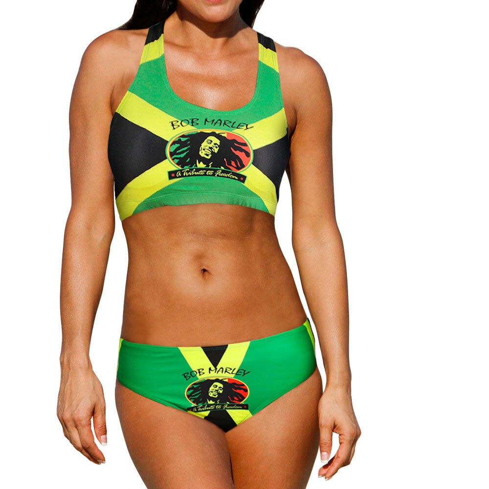 Two Piece Jamaican Flag Bikini Swimsuit