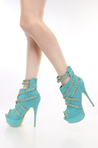 Sarin Suede Chained Peep Toe Stiletto Bootie