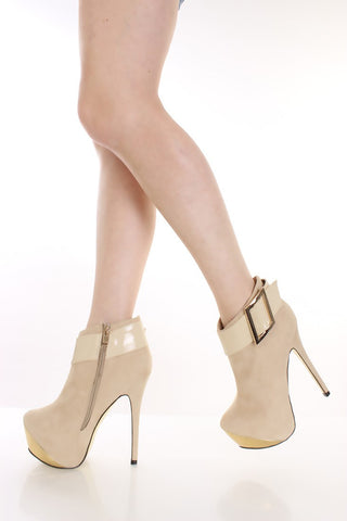 Beige Buckled Metallic Platform Booties