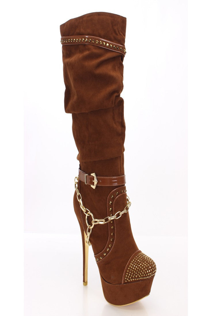 Vanessa Jeweled Chain Slouchy Stiletto Knee High Boot [BROWN]
