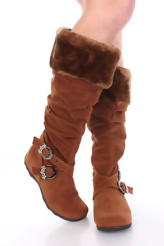 Tan Faux Suede Fur Detail Buckle Straps Boots