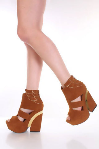 Tan Faux Suede Metallic Scalloped Chunky Heels