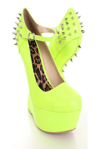 Neon Yellow Faux Leather Spiked Anti Gravity Wedges