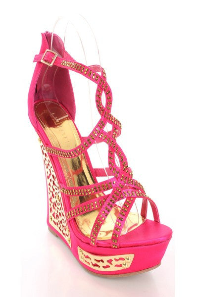Mallika - 26 Rhinestone Crisscross Metal Trim Wedges