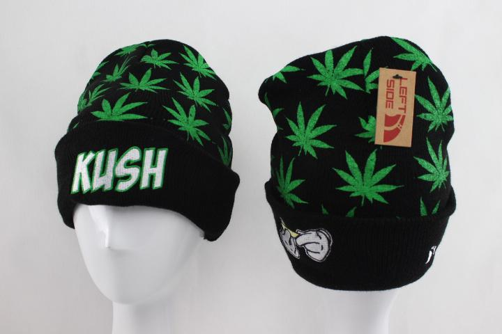 Green and Black Marijuana Leaf Beanie Hat