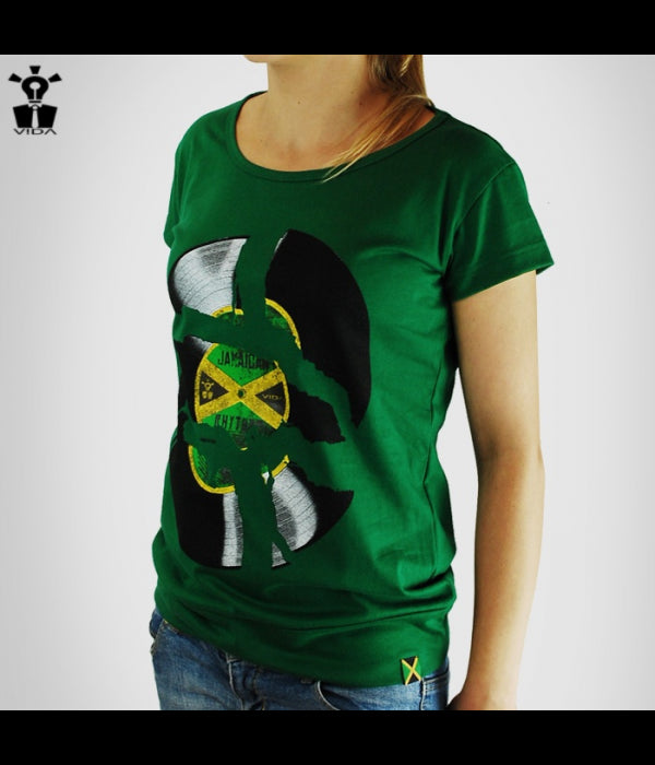 VIDA, WOMEN'S T-SHIRT 'JAMAICAN RHYTHMS', GREEN