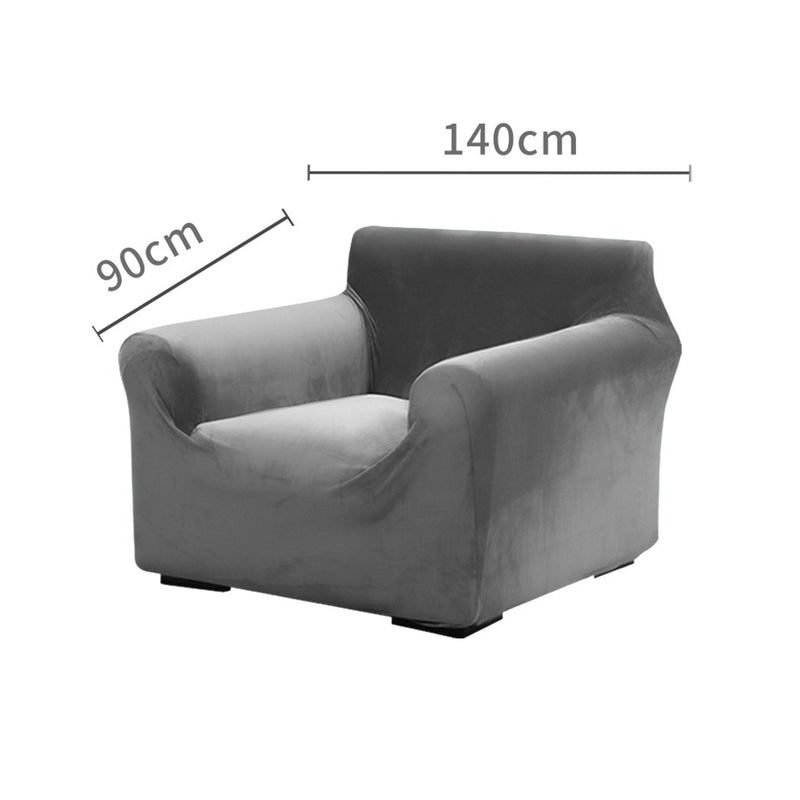 Sofa Cover Couch High Stretch Super Soft Plush Protector Slipcover 1 Seater Grey