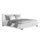Artiss Queen Size PU Leather and Wood Bed Frame Headboard -White