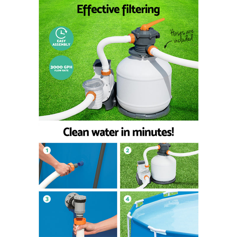 Bestway Sand Filter Above Ground Swimming Pool 3000GPH Pools Cleaning Pump