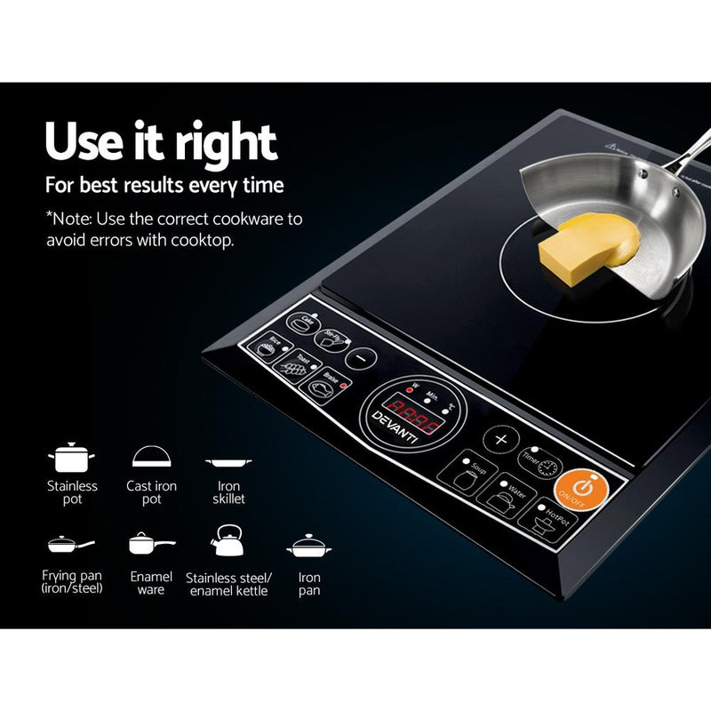 Devanti Portable Single Ceramic Electric Induction Cook Top - Black