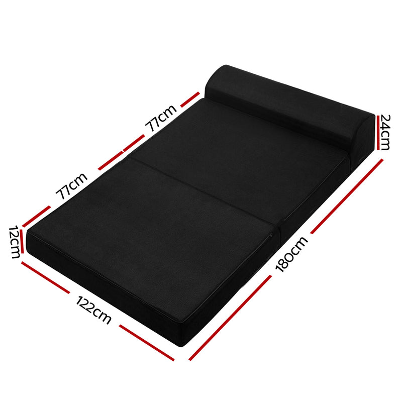 Giselle Bedding Folding Foam Mattress Portable Double Sofa Bed Mat Air Mesh Fabric Black