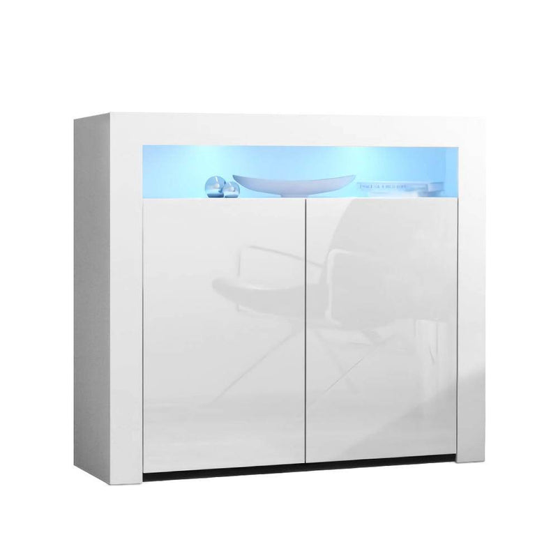 Artiss Buffet Sideboard Cabinet LED High Gloss Storage Cupboard 2 Doors White