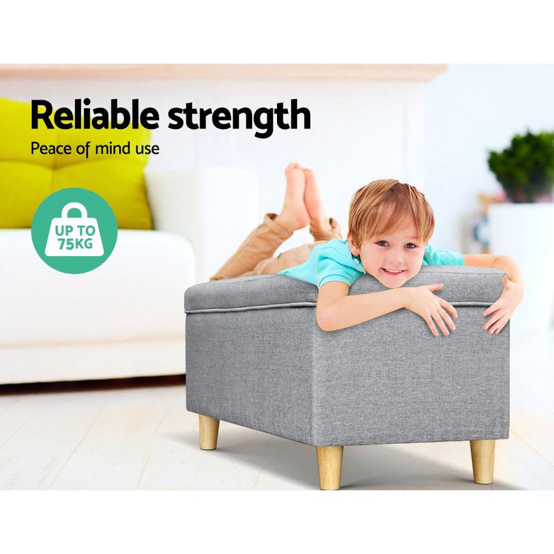 Artiss Kids Storage Ottoman - Light Grey