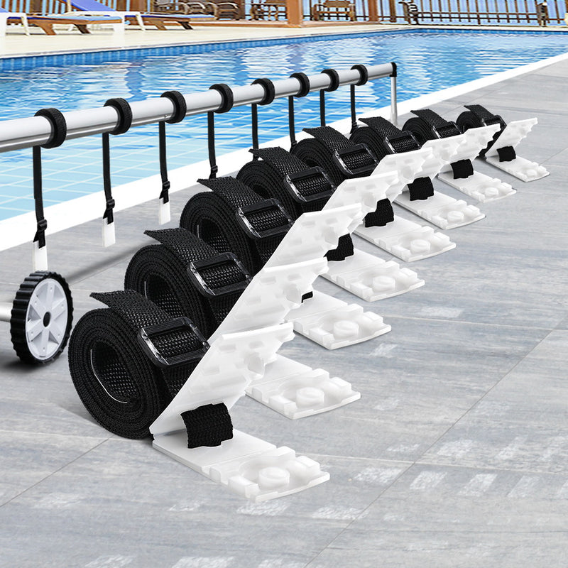 Aquabuddy Pool Cover Roller Attachment Straps Kit 8PCS for Swimming Solar Pool