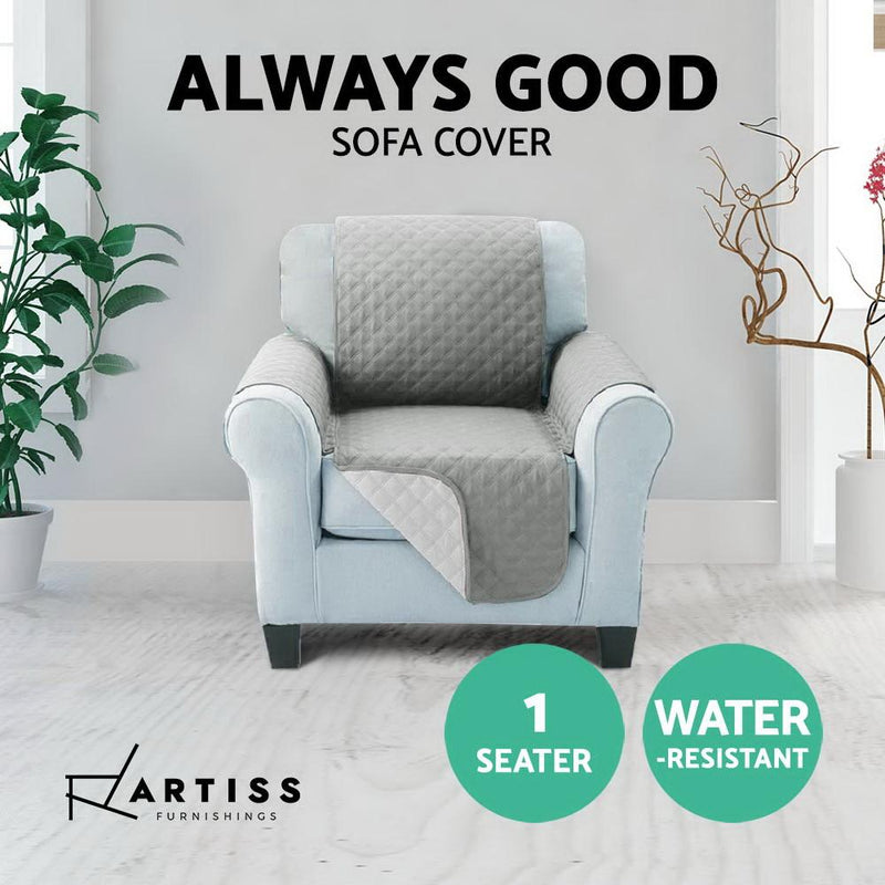 Artiss Sofa Cover Quilted Couch Covers Protector Slipcovers 1 Seater Grey
