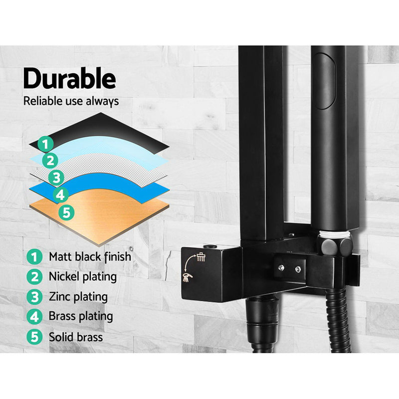 WELS Square 8 inch Rain Shower Head & Mixer Set Bathroom Handheld Spray Bracket Rail Mat Black