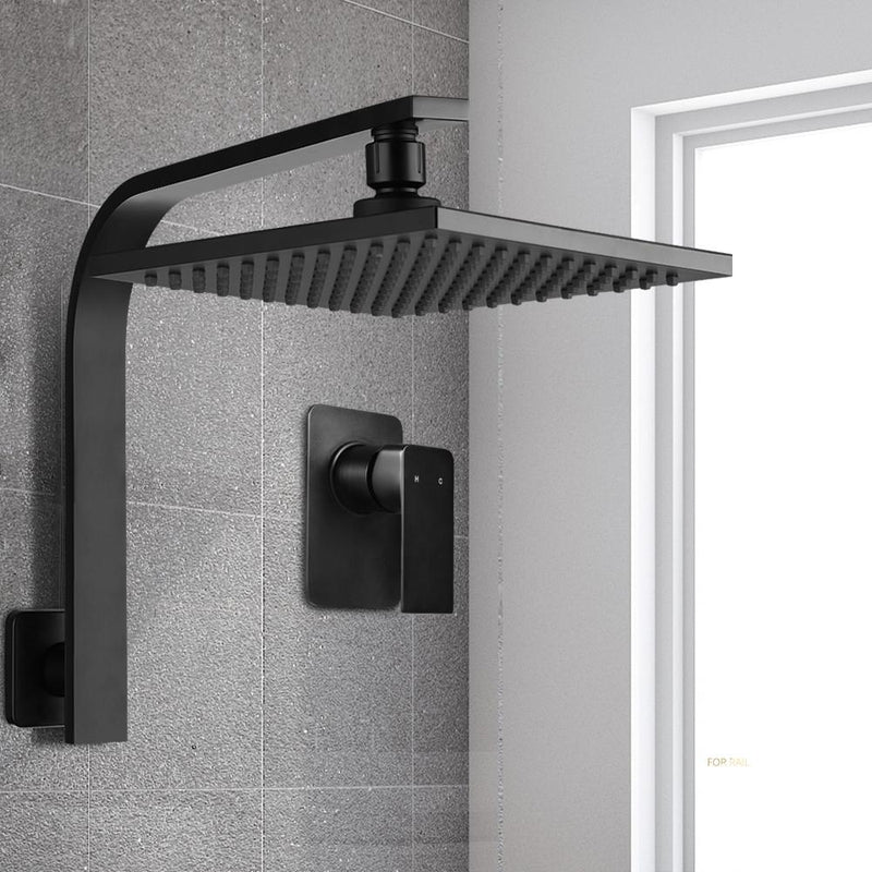 Cefito WElS 8'' Rain Shower Head Mixer Square High Pressure Wall Arm DIY Black