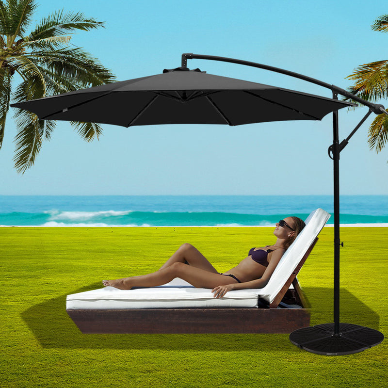 Instahut 3M Umbrella with 48x48cm Base Outdoor Umbrellas Cantilever Sun Beach Garden Patio Black