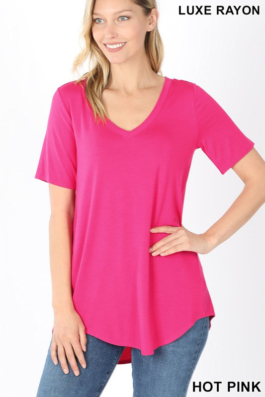 Short Sleeve Vneck Round hem top