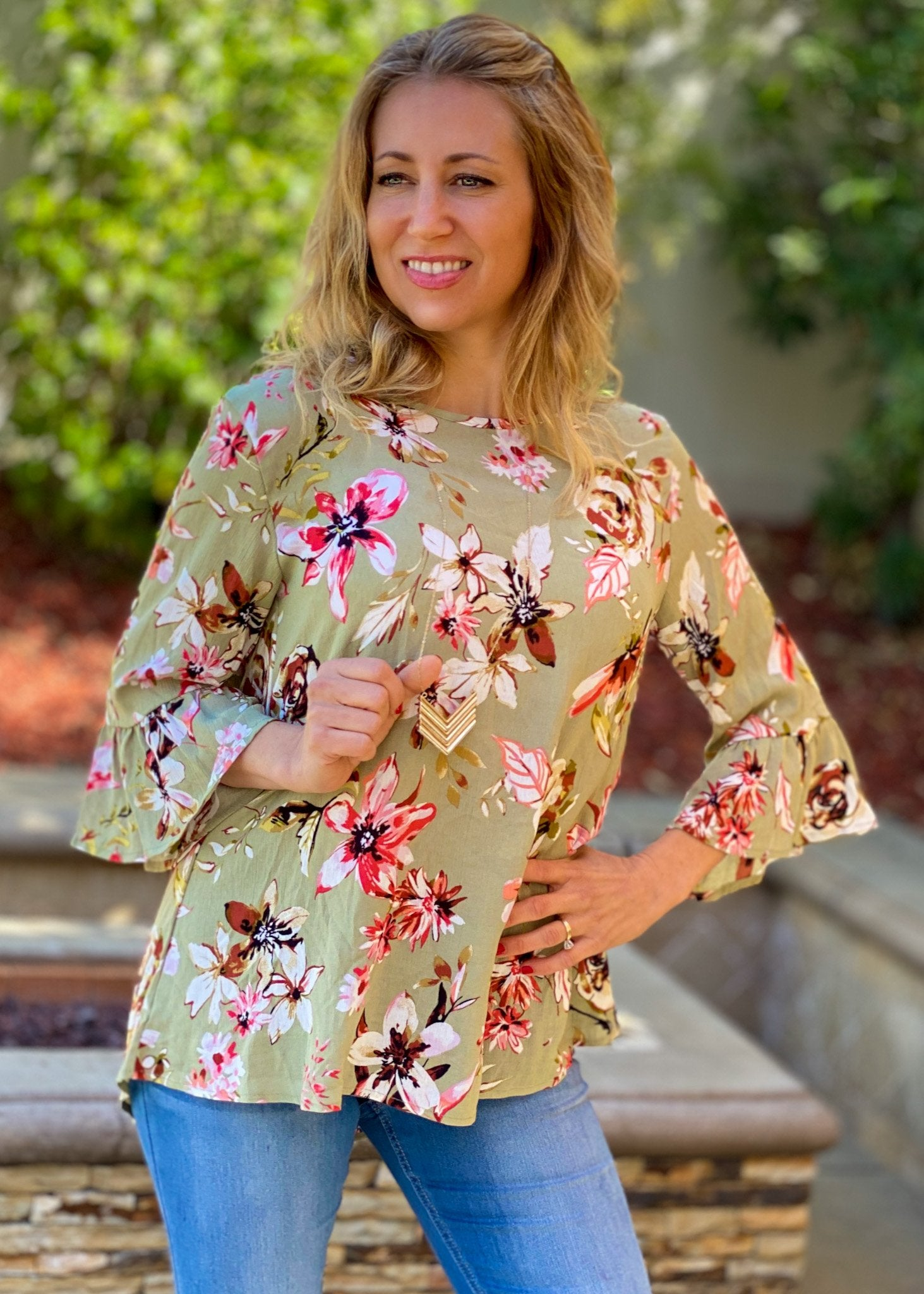 All Around Flowers Ruffled 3/4 Sleeve Top