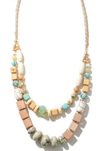 Ocean Vibes Mixed Beaded layered necklace