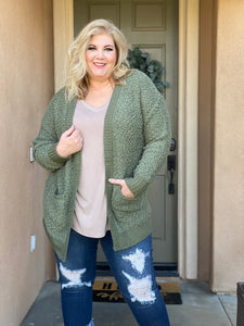 Long Sleeve Popcorn Cardigan With Pockets
