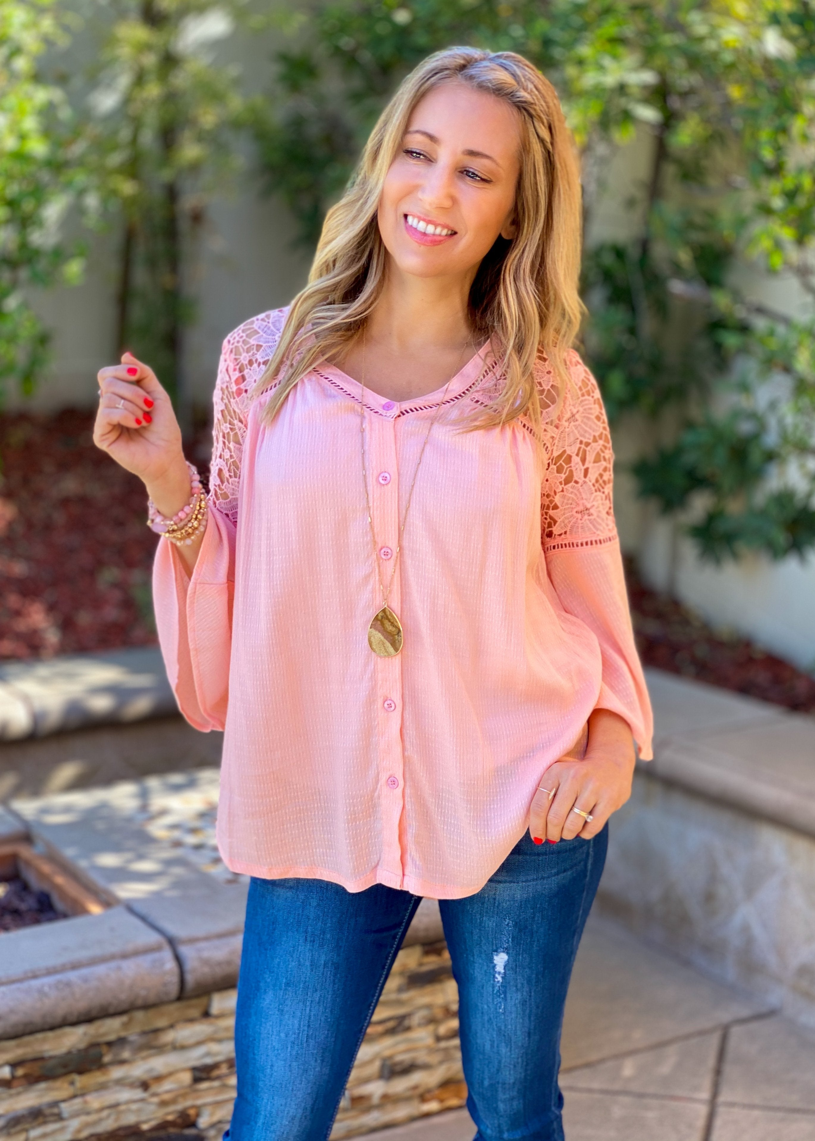 Just Peachy Lace Button Down Blouse