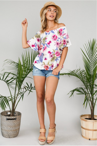 Tropical Vibes Off Shoulder Top