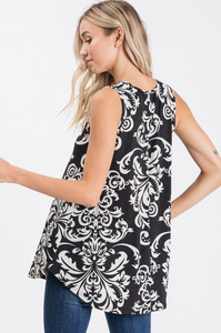 Sleeveless Damask Top