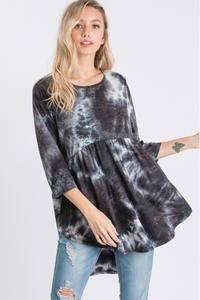 Rough Seas Tie Dye Babydoll Top