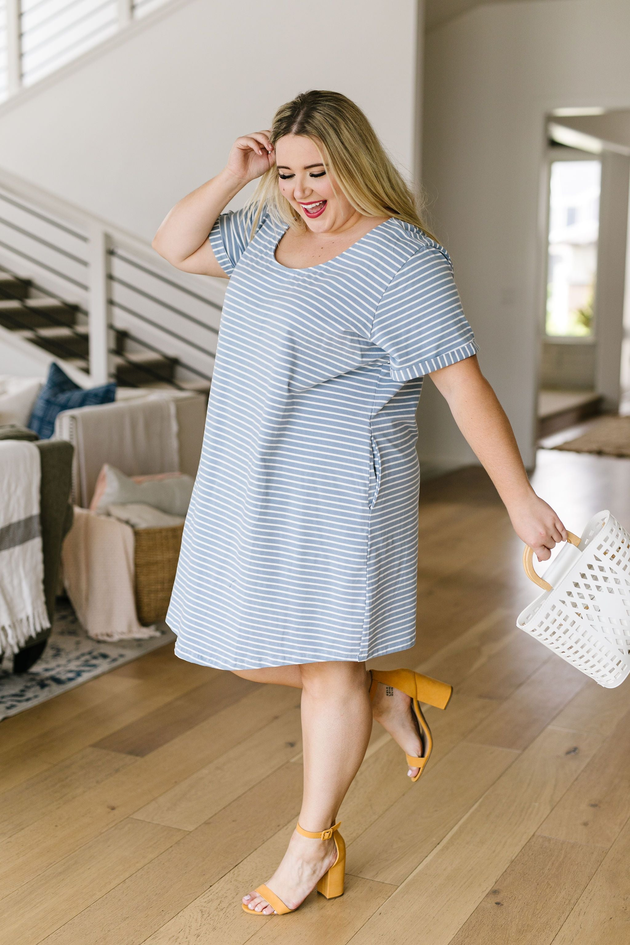Buttoned To A T-Shirt Dress In Pale Blue
