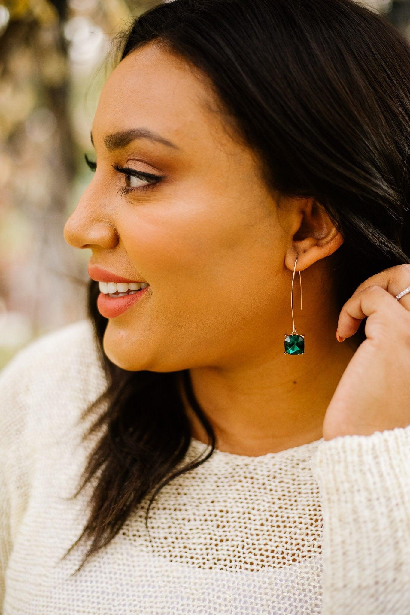 Crystal Drop Earrings In Emerald