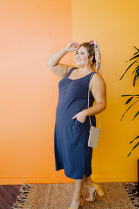 Easy Living Tank Dress In Charcoal